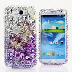 Samsung Galaxy Note 2 3 S3 S4  iPhone 5 5S 5C 4/4S   Handcrafted Case Cover 3D Luxury Bling Crystal Sparkle Purple Butterfly Rose Dream_707 by Star33mall