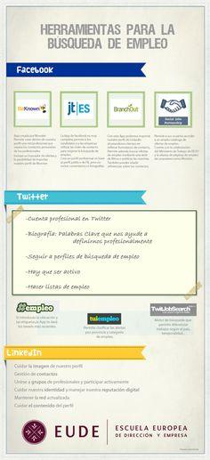 Herramientas 2.0 para la búsqueda de empleo #infografia #infographic #socialmedia