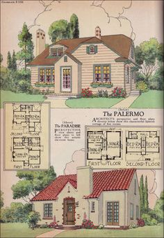 The Palermo & Paradise  1925 AMERICAN BUILDER MAGAZINE BY WILLIAM A. RADFORD CO.    Two plans shown here include the Palermo and the Paradise. Both are small story-and-a-half houses with a modest footprint. The tile roof and stucco siding give the Palermo a more European flavor in contrast with the more traditional style of the Paradise.