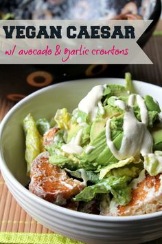Vegan caesar salad with avocado and garlic croutons. Delicious and healthy, but tastes like it shouldn't be!