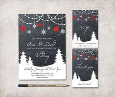 Winter Wedding Invitation Suite, Printable Wedding Stationery Set, Digital File - Christmas Wedding Invitation - Chalkboard - pinned by pin4etsy.com