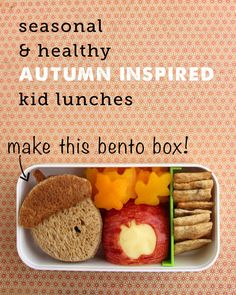 simple bento box lunch for Fall plus lots more healthy lunch ideas #healthysnacks #kidlunches #backtoschool