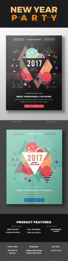 New Year Party Flyer Template PSD, AI Illustrator