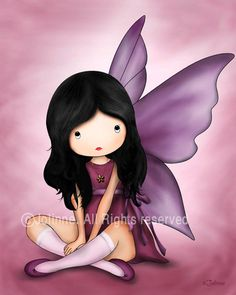 Angel art print illustration Kids wall art girls room decor fairy nursery poster, children decor