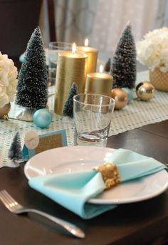 Tiffany Blue & Gold Christmas table top decor
