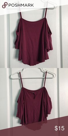 AEO Soft & Sexy Cold Shoulder Top Magenta cold shoulder top.  94% Viscose 6% Elastane.  Machine wash cold gentle cycle.  Reshape lay flat to dry. American Eagle Outfitters Tops Crop Tops