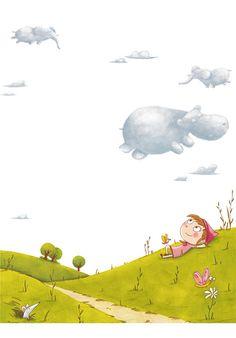 look at the clouds Illustration Mignonne, Children's Book Illustration, Cartoon Kids, Cartoon Art, Art Fantaisiste, Art Mignon, Cute Cartoon Wallpapers, Illustrations And Posters, Whimsical Art
