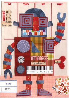 Robot paper quilt by Linzie Hunter - good for kinder cut and glue practice