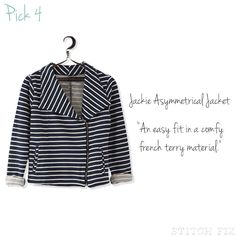 Renee has a beautiful pear shaped body.  My job is to balance out and hide any imperfections (we all have them).  This short little jacket is perfect for doing that.  Yes, it has horizontal stripes... However, in this case, the stripes will only help in balancing her out - Drawing more attention to her top half leading the eye upward. The hem hits her at the just below the waistline, perfectly. The print is really creative and fun with the floral print blouse peeking out. Phyllis