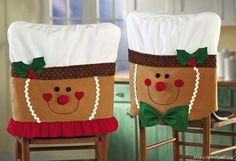 So you've got your Christmas tablecloth and holiday plates ready for the big day, but what about your chairs? Are they in the holiday spirit? If not, then why not give them a holiday makeover with some cute Christmas chair covers? The Christmas. Christmas Sewing, Christmas Projects, Christmas Home, Holiday Crafts, Christmas Holidays, Christmas Ornaments, Family Holiday, Homemade Christmas, Gingerbread Crafts