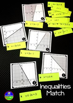 Matching inequality graphs to slope-intercept and standard form equations. Algebra Activities, Math Resources, Teaching Math, Teaching Ideas, Algebra Projects, Teaching Tools, Graphing Linear Inequalities, Foundation Maths, Algebra 1