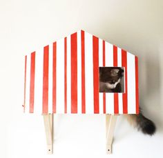 Cat Wall Design for cats _ white Color red stripes Cat Wall, Dog Houses, Red Stripes, Wall Design, Wood, Etsy, Home Decor, Decoration Home, Woodwind Instrument