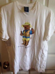Vintage-RARE-Polo-Ralph-Lauren-Teddy-Bear-Fly-Fishing-Fisherman-T-Shirt-Mens-S