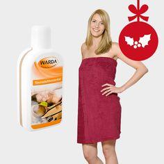 Damit machen Sie jeder Frau zu Weihnachten eine Freude: Damen-Saunakilt inkl. Duftkonzentrat Orange-Honig. #sauna #weihnachtsgeschenk #damen #frau