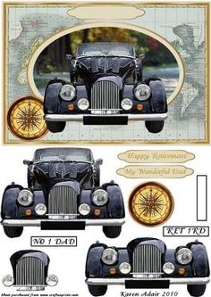 Vintage Car Step by Step Card Front on Craftsuprint designed by Karen Adair - This is an A5 sized card front, with a great old vintage world map on the background, and with a wonderful vintage car coming at you out of an oval frame. Decoupage pieces layer up to enhance that 3D effect. Two greetings banners are included, one for Retirement and a general one for Dad, or you could add a peel off to the blank already on the card front to use this for whatever you want, like birthdays or Fathers…
