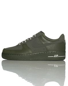 NIKE Air Force One Low top men's sneaker Lace up closure Padded tongue with NIKE logo Signature swoosh on side of shoe Cushioned sole Dark grayish green