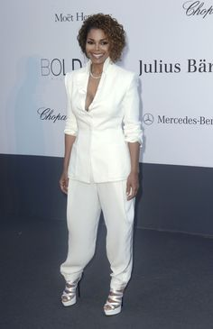 And in the best possible all-white look, Janet Jackson. Because of these oddly-tailored pants, whatever they are. | 53 Bizarrely Glamorous Photos From The amFAR Gala Red Carpet