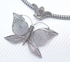 Vintage Sterling Butterfly Necklace Turkish by silvermoonstars, $200.00
