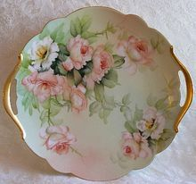"Limoges Hand Painted Roses Cake Plate Large 13.5 inches ~ Artist Signed ""E. Miler"""