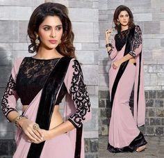 Nice idea for a crochet jacket and saree with velvet border.