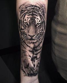Tiger???????????? tattoo by @shine_tattoos #piercing #piercing #men Mens Tiger Tattoo, Tiger Face Tattoo, Tiger Tattoo Sleeve, Big Cat Tattoo, Lion Tattoo Sleeves, Sleeve Tattoos, Tiger Thigh Tattoo, Tattoos Arm Mann, Head Tattoos