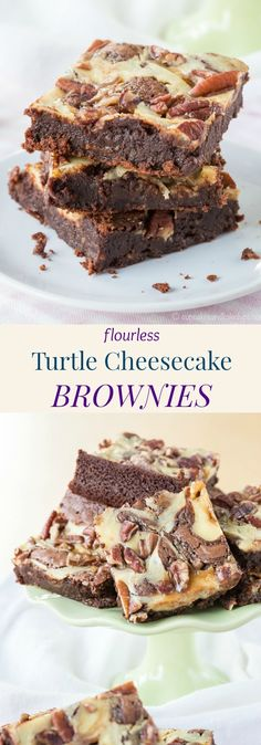 Flourless Turtle Cheesecake Brownies - This Naturally Gluten Free Fudgy Brownie Recipe Will Satisfy Chocolate, Cheesecake, And Caramel Cravings In One Bite, All Topped With Crunchy Pecans. Fudgy Brownie Recipe, Fudgy Brownies, Brownie Recipes, Chocolate Recipes, Cookie Recipes, Brownie Ideas, Brownie Desserts, Turtle Cheesecake Recipes, Gluten Free Cheesecake
