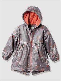 Girl's Fleece-Lined Raincoat GREY MEDIUM  ALL OVER PRINTED - vertbaudet enfant