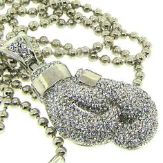 Men's Boxing Glove Necklace - Iced Out - Silver Plated - Heavy Bling The Bling King. $21.95