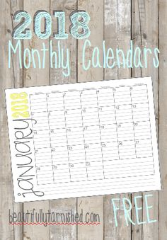 2018 Monthly Landscape Calendars FREE | Beautifully Tarnished