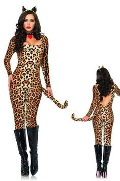 sexy cougar costume womens halloween cat bodysuit for cold octobers