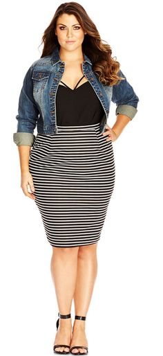 I love this entire look! City Chic Plus Size Cropped Denim Jacket Plus Size Fashion For Women, Plus Size Women, Plus Fashion, Plus Size Jeans, Plus Size Dresses, Plus Size Outfits, Curvy Outfits, Fashion Outfits, Image Fashion