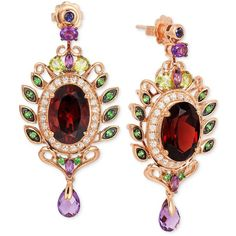 Le Vian Crazy Collection Garnet (10 ct. t.w.) and Multi-Stone (3-5/8... (118,440 THB) ❤ liked on Polyvore featuring jewelry, earrings, rose gold, rose gold earrings, garnet earrings, drop earrings, rose gold jewelry and multi color earrings