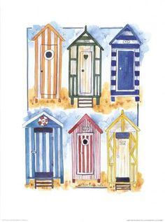 Art Print: Alie Kruse-Kolk Art Print by Alie Kruse-Kolk : Beach Huts Art, Hut House, Tiny House, Cartoon House, House On The Rock, Beach Print, Mosaic Projects, Childrens Room Decor, Cross Paintings