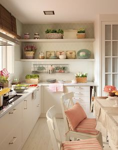 kitchen, interior, styling, home, pink, dining table, shelving, white