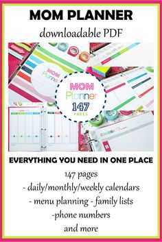 This printable MOM PLANNER is perfect for any busy household!  Print what you need and get organized today.  #Household Binder #Home Management Binder #Family Binder #Printable Planner #affiliate