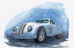 BMW 328 Coupe, Original Painting, Watercolor, Handpainted, Car, BMW 328 Coupe , 7,6x11,6 inch. NOT a print! Tatiana-Art. on Etsy, $17.00