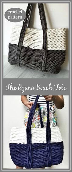 Crochet Pattern, The Ryann Beach Tote, Crochet Bag Pattern, Crochet, Crochet Pattern, Crochet Tote Pattern, Crochet Summer Bag #crochet #crocheting #crochetpattern #ad #beach #tote #totebag #crafts