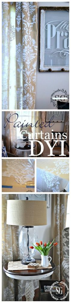DID YOU KNOW YOU CAN PAINT CURTAINS! Wow, so easy and will give your home a one-of-a-kind look. No more boring curtains... EVER! (Diy Curtains Creative)