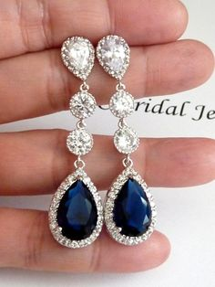 Wedding Bridal Earring Long LARGE Halo Dark Sapphire Blue Peardrop Cubic Zirconia Multi Round CZ Drops White Gold Plated  CZ Post Earrings on Etsy, $62.00