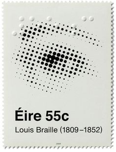 Making use of both Ben-Day dots and tactile dots of braille an amazingly subtle postage stamp issued by Ireland in commemorating the birthday of Louis Braille. Postage Stamp Design, Postage Stamps, Design Graphique, Art Graphique, Graphic Design Typography, Graphic Prints, Ben Day Dots, Interaktives Design, Flyer