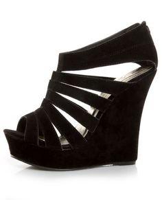 Yoki Alyson Black Velvety Platform Cage Wedges ...i think these need to be part of my wardrobe.