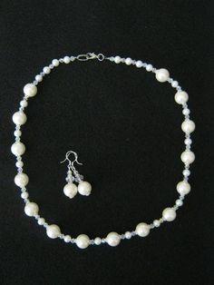 Handmade White Glass Pearl & Crystal Necklace & Earring Set, Free Ship, No Fee $15.00