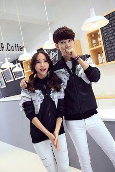CC00784 Korean style couples hoodie long sleeve autumn coat