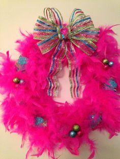 Wreath I made with feather boa!