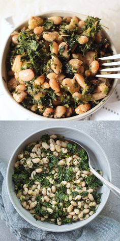 Spinach and White Beans - A super simple vegan side dish that's full of protein and flavor! Spinach and White Beans - A super simple vegan side dish that's full of protein and flavor! Spinach Recipes, Veggie Recipes, Vegetarian Recipes, Cooking Recipes, Healthy Recipes, Vegetarian Picnic, Veggie Food, Cooking Tips, Vegan Side Dishes