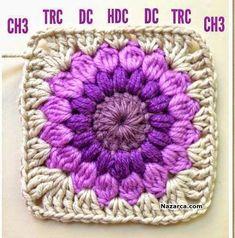 Crochet Granny Squares Blanket AnnieColors: Sunburst Granny Square Pattern, thanks so xox Motifs Granny Square, Granny Square Pattern Free, Crochet Blocks, Granny Square Crochet Pattern, Crochet Squares, Crochet Blanket Patterns, Knitting Patterns, Free Pattern, Afghan Crochet
