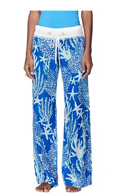 Lilly Pulitzer Linen Beach Pant shown in Brewster Blue Good Reef