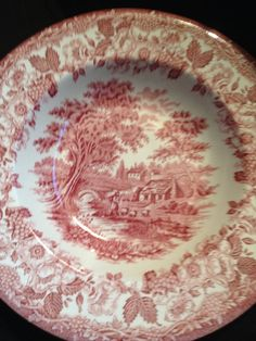 Vintage 1950S Woods & Sons red transferware by BuyfromGroovy