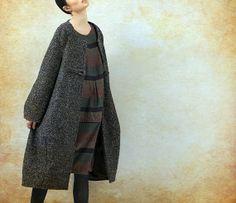 Grey Cashmere Coat Wool Coat Long Wool Coat Winter by camelliatune