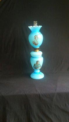 Victoriaanse NAPOLEON Opaline/Bristol Glazen 3-Delige Europese Gone With The Wind/ Banquet Olie Lamp /Petroleum Lamp (Eind 19e E)